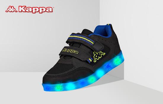Kappa Masper Ice Sneaker schwarz mit LED Leuchtsohle und Klettverschluss