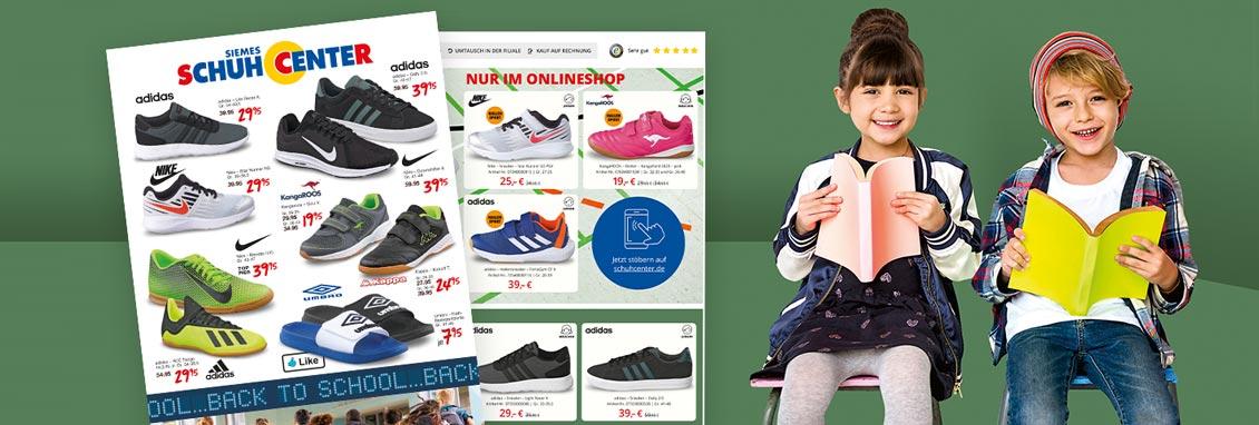 Back to School Prospekt - Günstige Kinder Sneaker und Sportschuhe für den Schulanfang