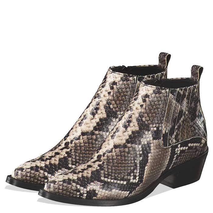 Trendige Cowboy- und Biker Boots für Damen mit Schnallen und Animal Prints