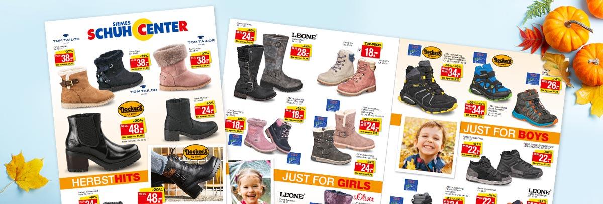 Aktueller Siemes Schuhcenter Prospekt - Jetzt günstige Herbst-Angebote sichern und Schuhe für Damen, Herren und Kinder shoppen