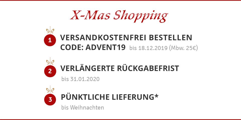 X-Mas Shopping - Bestellen Sie bis zum 18.12.2019 versandkostenfrei Schuhe im Siemes Schuhcenter Onlineshop und sichern Sie sich eine pünktliche Lieferung bis Weihnachten