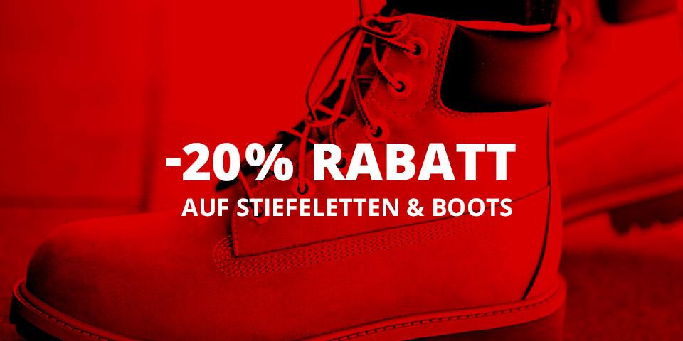 -20% Rabatt auf alle Boots, Stiefel und Stiefeletten