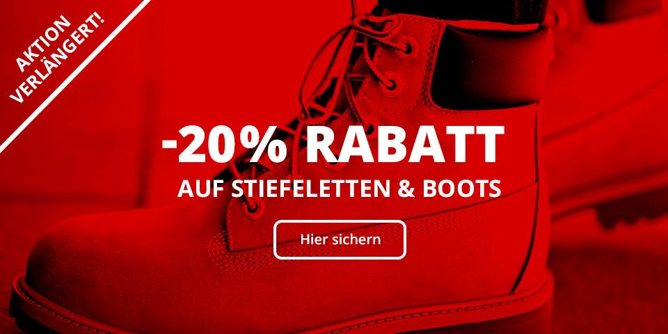 -20% Rabatt auf alle Boots, Stiefel und Stiefeletten für Herren