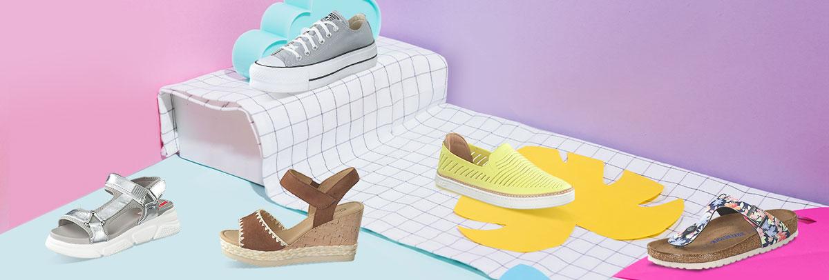 Jetzt neue günstige Damenschuhe wie Pantoletten, Sandalen und Sneaker online shoppen