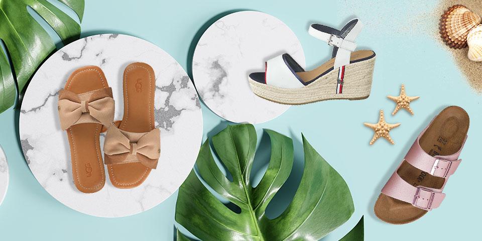 Jetzt neue günstige Damenschuhe für den Sommer wie Pantoletten, Sandalen und Sneaker online shoppen