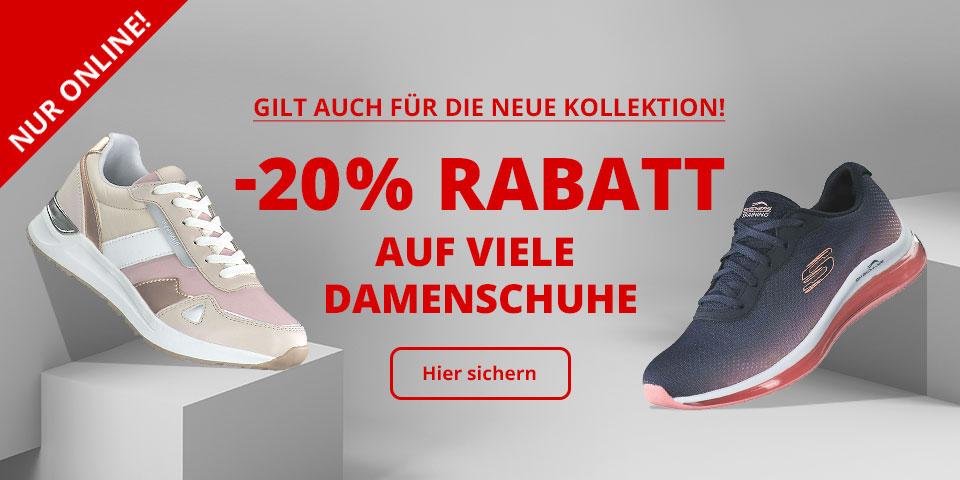 -20% Rabatt auf viele Damenschuhe: Sneaker, Halbschuhe, Slipper, Sportschuhe