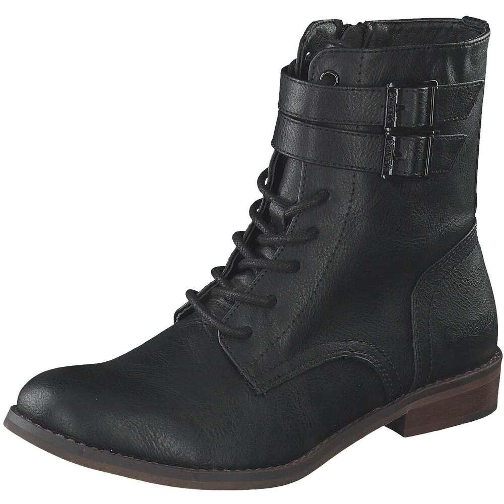Dockers Schnürstiefelette schwarz mit strukturierter Leder-Optik und feinem Plüschfutter