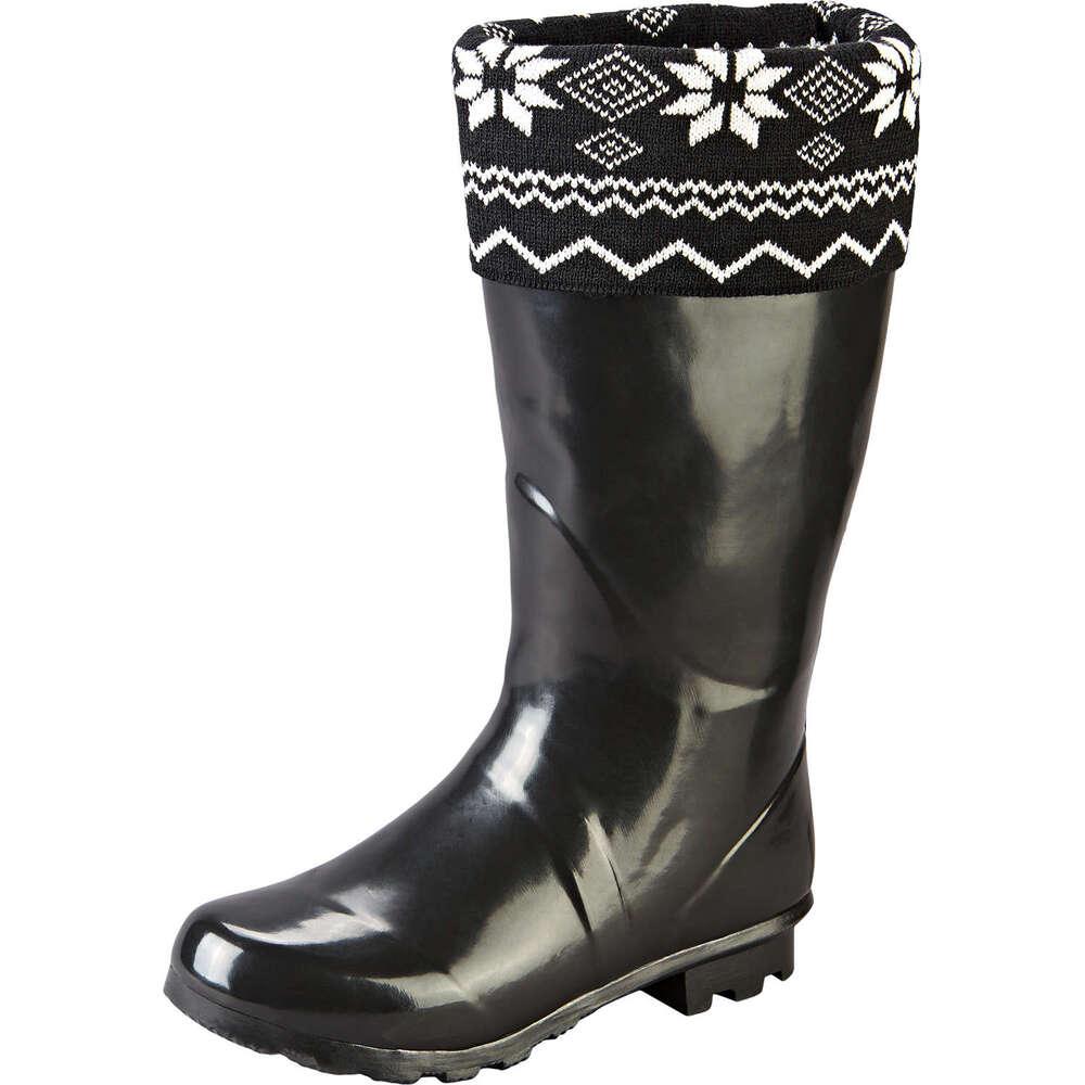 Schwarzer Damen Gummistiefel mit gemustertem Textil-Rand
