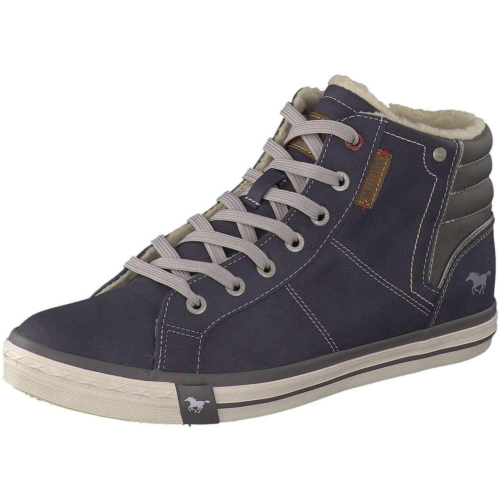 mustang herren sneaker high in blau reduziert bei. Black Bedroom Furniture Sets. Home Design Ideas