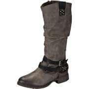 Via della Rosa Biker & Cowboy Style Langschaftstiefel  dunkelgrau