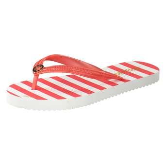Flip Flop Gold Flower Stripes Damen rot | 04045351488257