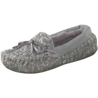 Flip Flop Loafer Knit Hausschuhe Damen grau