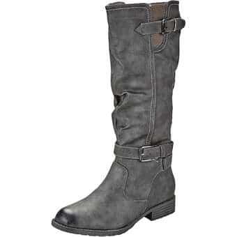 Stiefel - Sylvine Langschaftstiefel Damen grau  - Onlineshop Schuhcenter