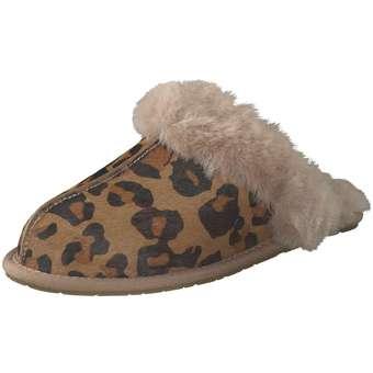 UGG Scuffette II Leopard Hausschuh Damen braun | Schuhe > Hausschuhe | Braun | Leder | Ugg