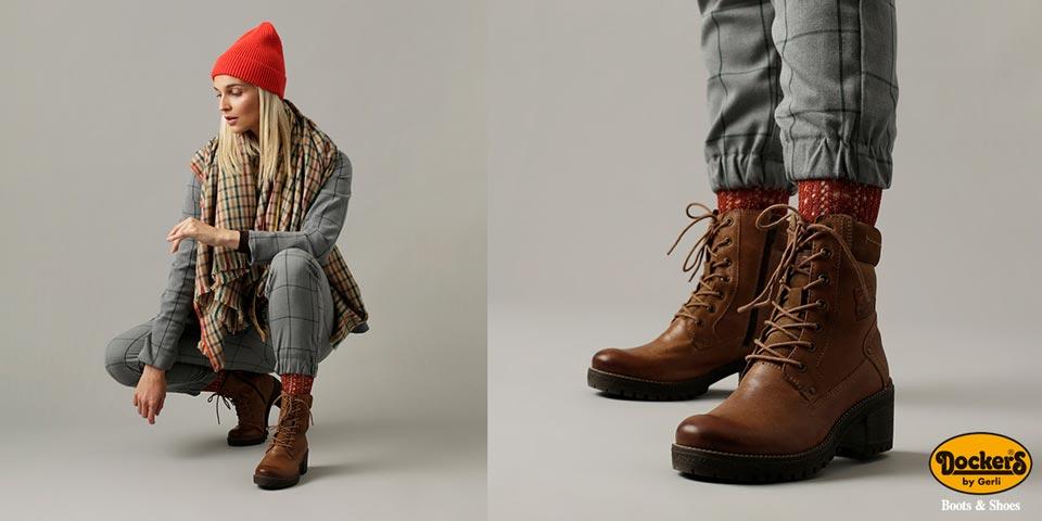 Dockers Chelsea Schuhe Winter Gefüttert Damen Stiefel